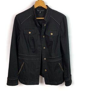 White House Black Market Black Studded Denim Jacke